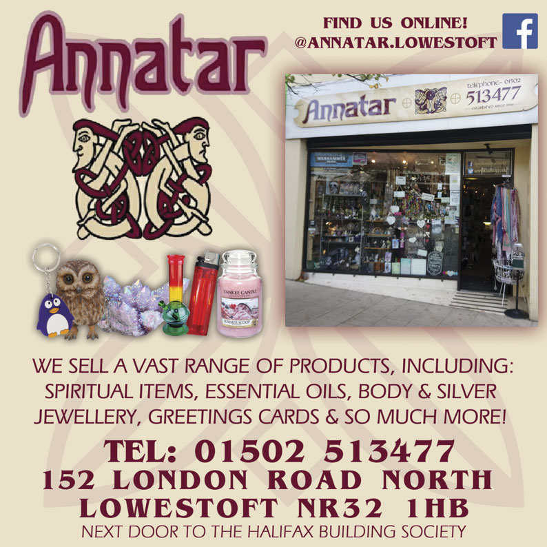 Annatar  WE SELL A VAST RANGE OF PRODUCTS, INCLUDING: SPIRITUAL ITEMS, ESSENTIAL OILS, BODY & SILVER JEWELLERY, GREETINGS CARDS & SO MUCH MORE! TEL: 01502 513477 152 LONDON ROAD NORTH LOWESTOFT NR32 1HB NEXT DOOR TO THE HALIFAX BUILDING SOCIETY  Find us online:  facebook.com/annatar.lowestoft