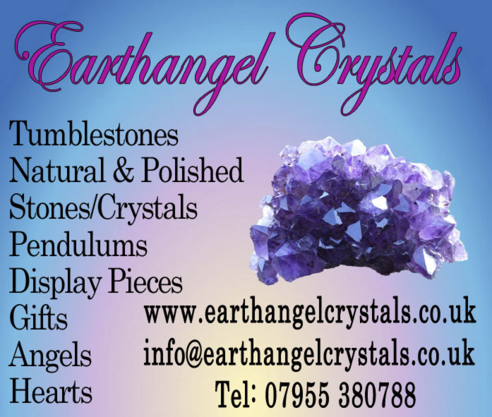 Earthangel Crystals  Tumblestones  Natural & Polished  Stones/Crystals  Pendulums  Display Pieces  Gifts  Angels Hearts  www.earthangelcrystals.co.uk info@earthangelcrystals.co.uk Tel: 07955 380788