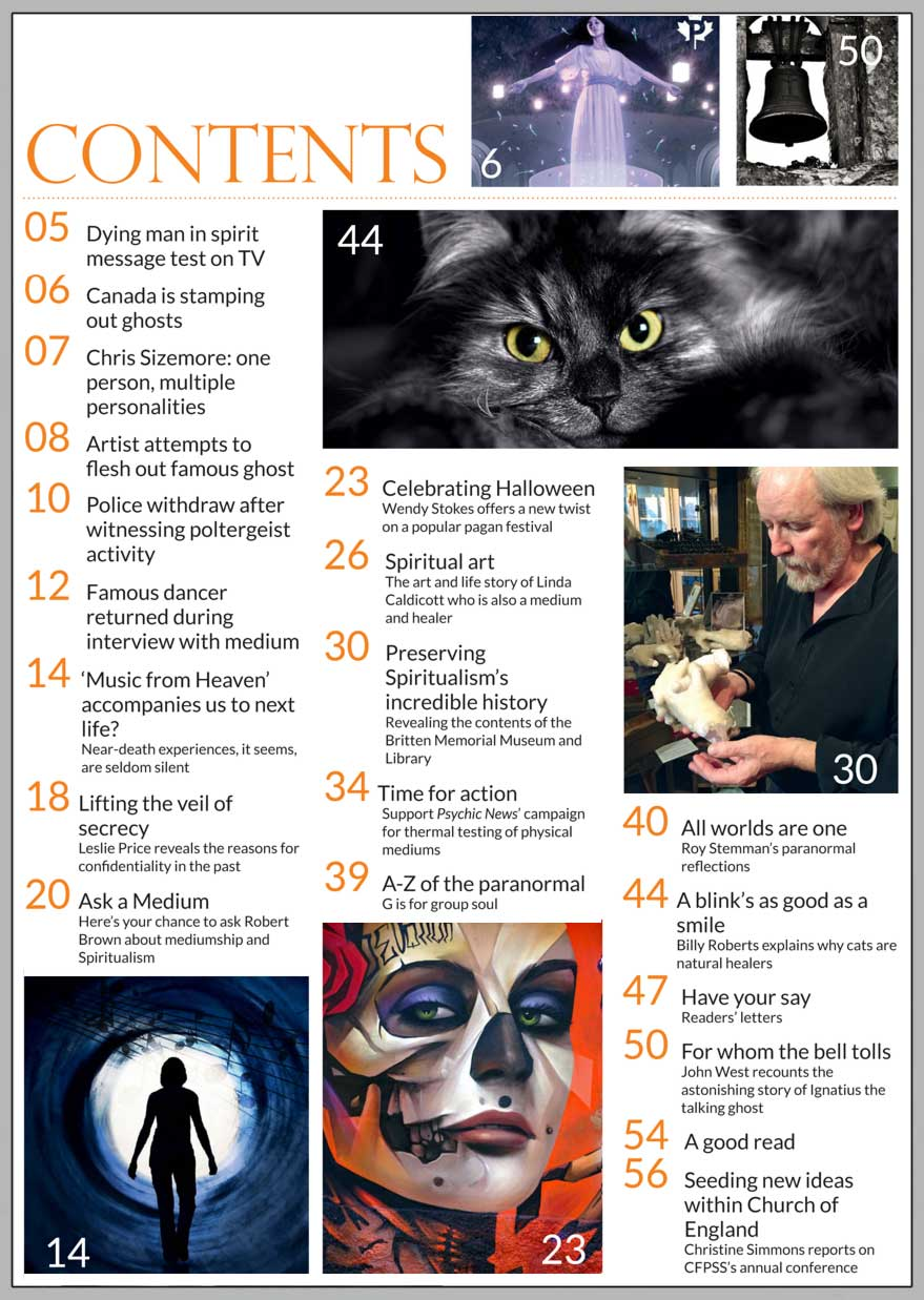 In this issue...   THE HISTORY OF HALLOWEEN  – A PAGAN FESTIVAL WITH A MODERN TWIST   PLUS...        Talking ghost  saves life of vicar's wife   Near-Death Experiences   Group souls   Fascinating 