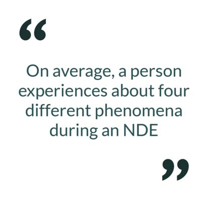 On average, a person experiences about four different phenomena during an NDE